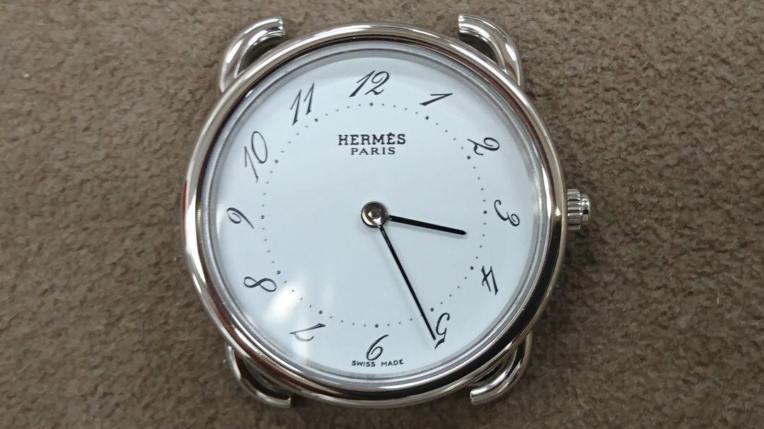 エルメスの分解掃除と新品仕上ケースポリッシュは新潟市のブローチ時計修理工房