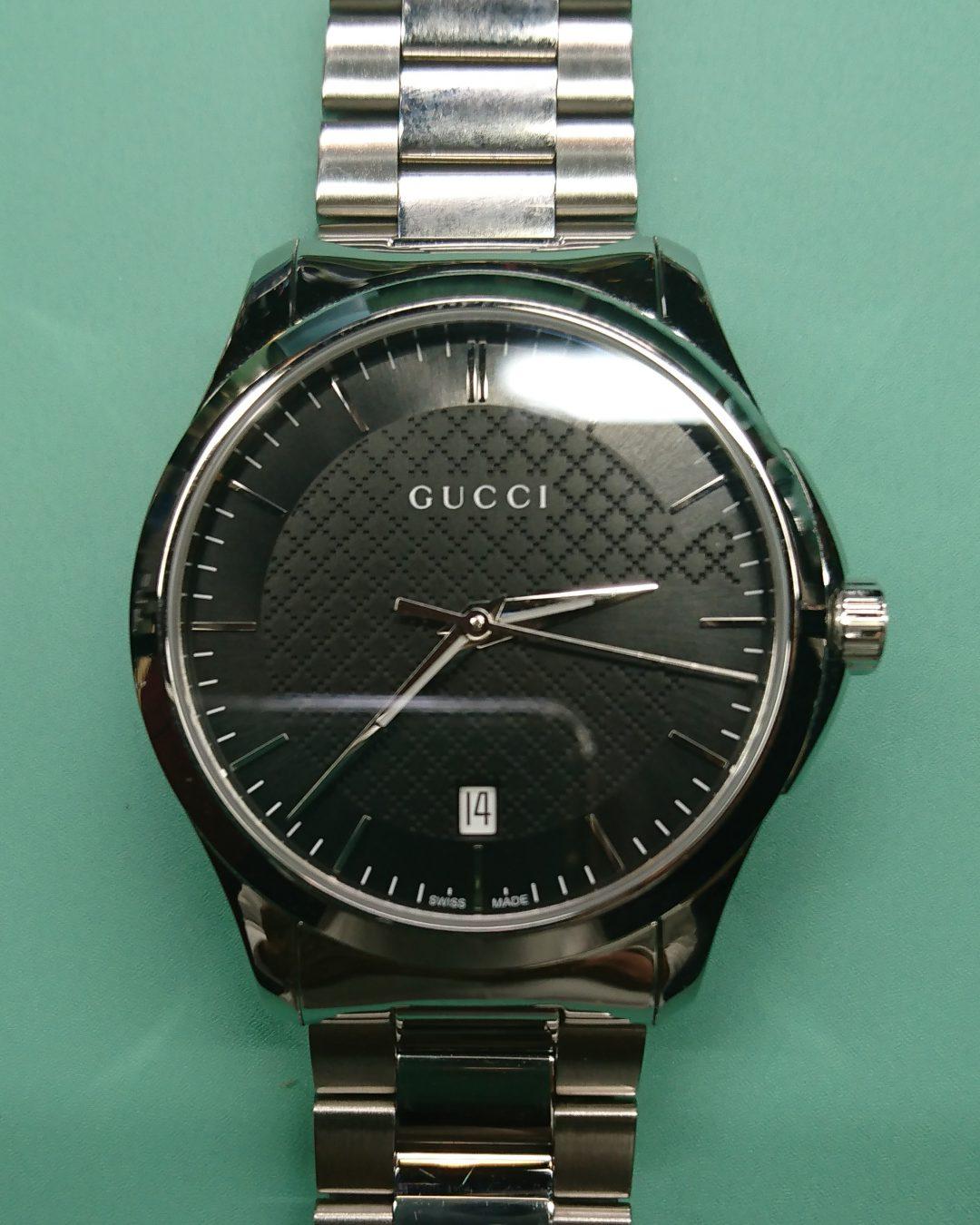 GUCCI クオーツの電池交換を新潟市にある時計修理工房BROOCHで承りました。オーバーホールなど修理承ります。