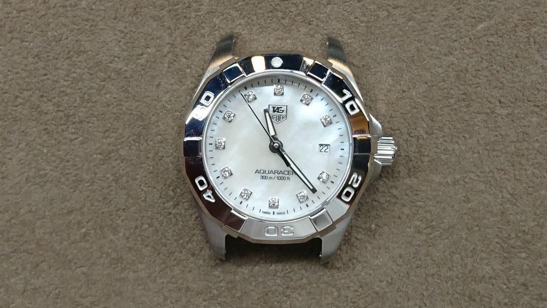 タグホイヤー アクアレーサー レディース(WBD1414.BA0741)の電池交換&ポリッシュを新潟市にある時計修理工房BROOCHで依頼しました。オーバーホールなども承ります。