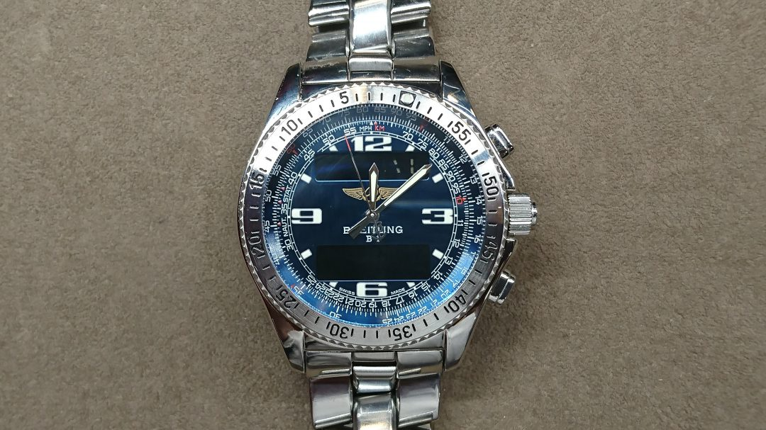 新潟で時計修理オーバーホール時計電池交換をするならBROOCH時計修理工房ブライトリングB-1 A68362のコマ外し