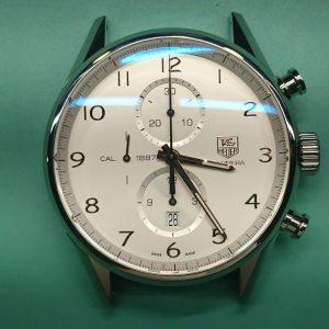 新潟で時計修理オーバーホール時計電池交換をするならBROOCH時計修理工房 タグホイヤー カレラ クロノグラフ CAL1887のオーバーホール&ポリッシュ