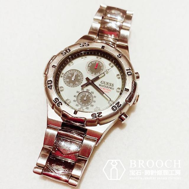 ゲス、ウォータープロのオーバーホールなら新潟市にある時計修理工房までお越しください。