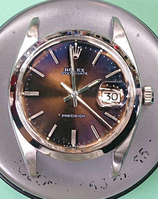 ROLEX OYSTERDATE PRECISION Ref.6694 のオーバーホール&ケースポリッシュ&リューズ交換を新潟市にある時計修理工房で行いました。
