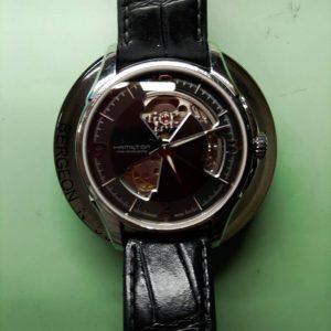 ハミルトンのジャズマスターのオーバーホール外装磨きは新潟万代ブローチ時計修理工房