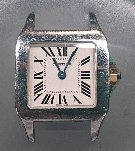 カルティエ サントスのオーバーホール、外装磨きは新潟市ブローチ時計修理工房へ!